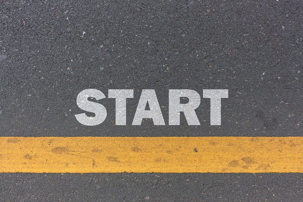 Cover Photo for Article About Getting Started - Image shows the word start printed on cement