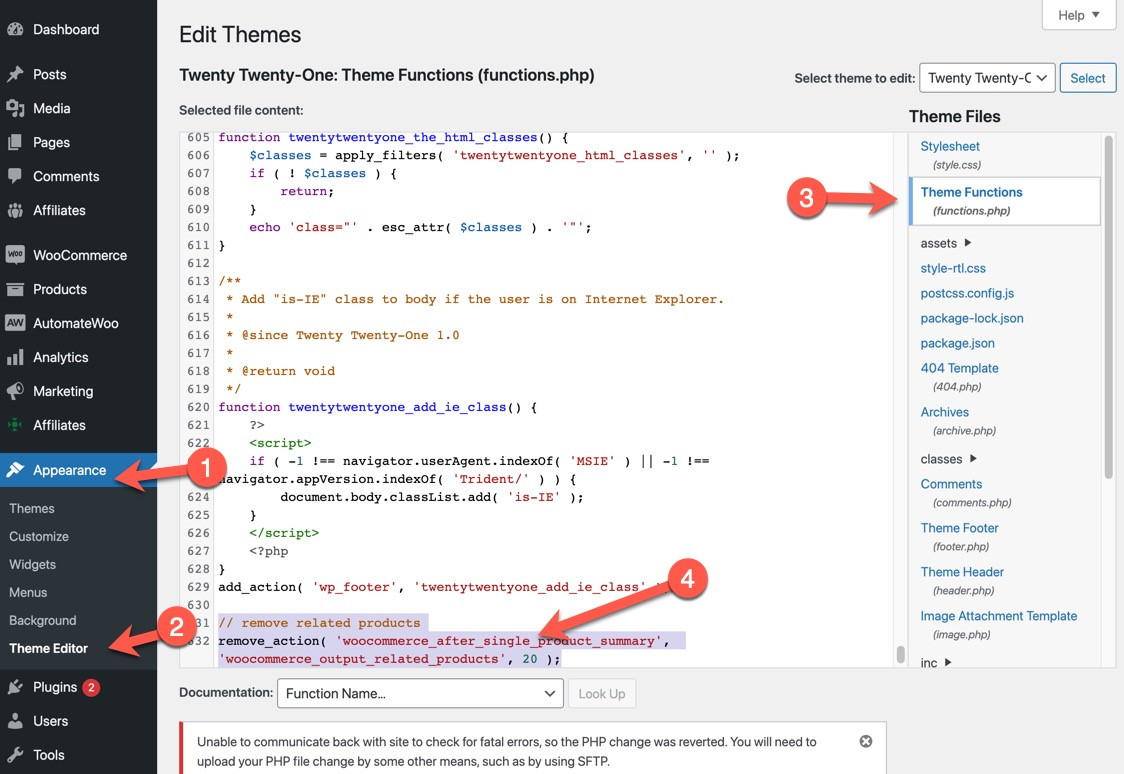 Screenshot showing how to remove related products through editing the functions.php file on the back-end